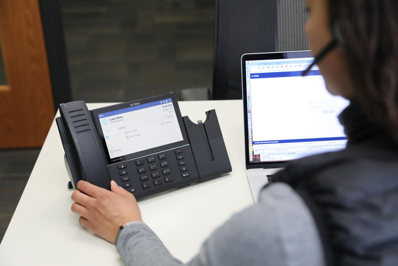 We offer Mitel Cloud or Mitel VoIP phone solutions.
